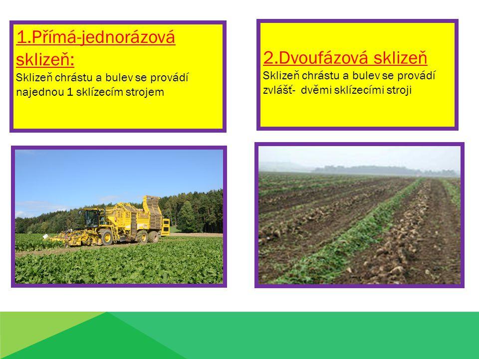 1.Přímá-jednorázová sklizeň: 2.Dvoufázová sklizeň
