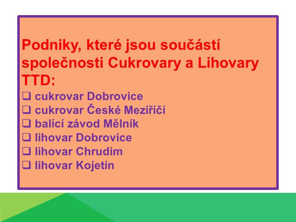 Podniky, které jsou součástí společnosti Cukrovary a Lihovary TTD: