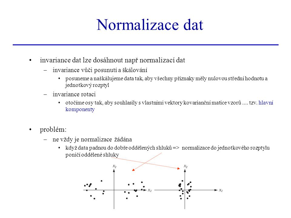 Normalizace dat invariance dat lze dosáhnout např normalizací dat