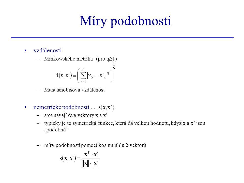 Míry podobnosti vzdálenosti nemetrické podobnosti .... s(x,x')