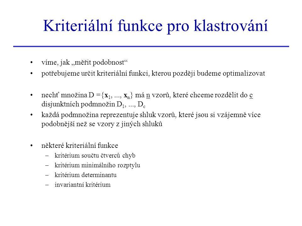 Kriteriální funkce pro klastrování