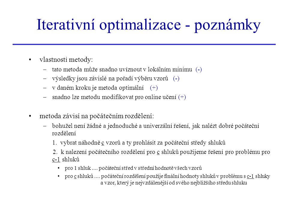 Iterativní optimalizace - poznámky