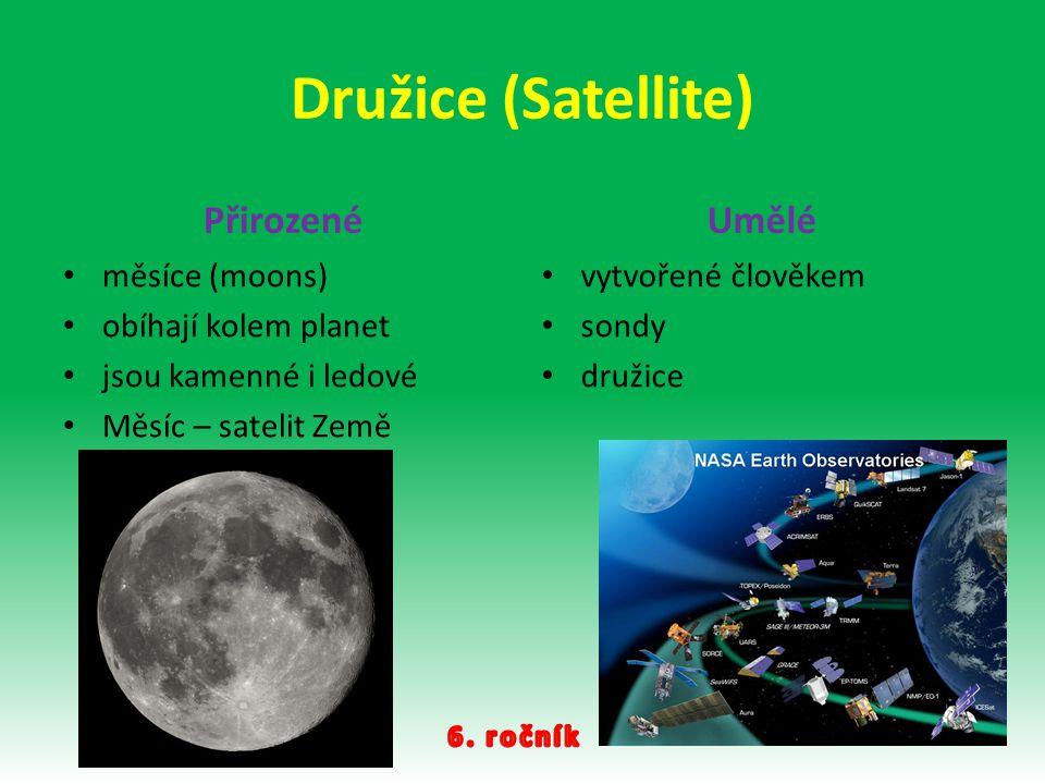 Družice (Satellite) Přirozené Umělé měsíce (moons)