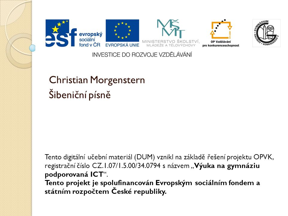Christian Morgenstern Šibeniční písně
