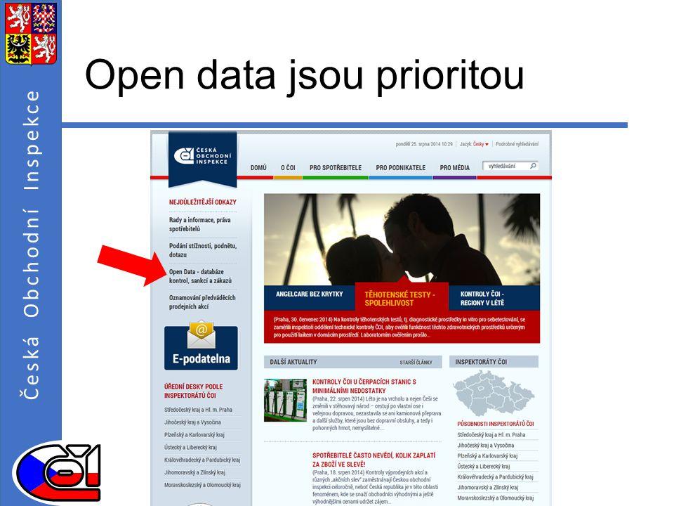 Open data jsou prioritou