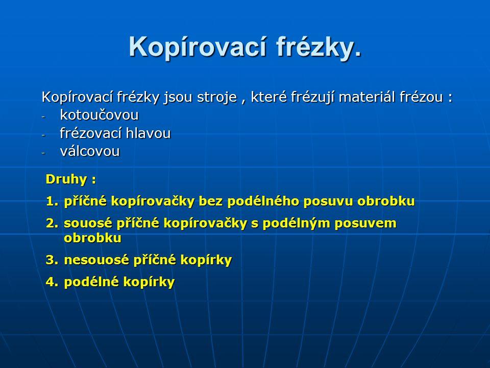 Kopírovací frézky. Kopírovací frézky jsou stroje , které frézují materiál frézou : kotoučovou. frézovací hlavou.