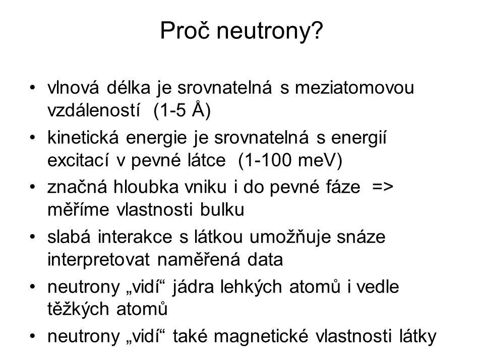 Proč neutrony vlnová délka je srovnatelná s meziatomovou vzdáleností (1-5 Å)