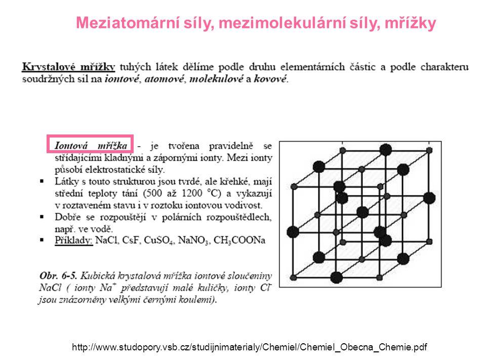 Meziatomární síly, mezimolekulární síly, mřížky