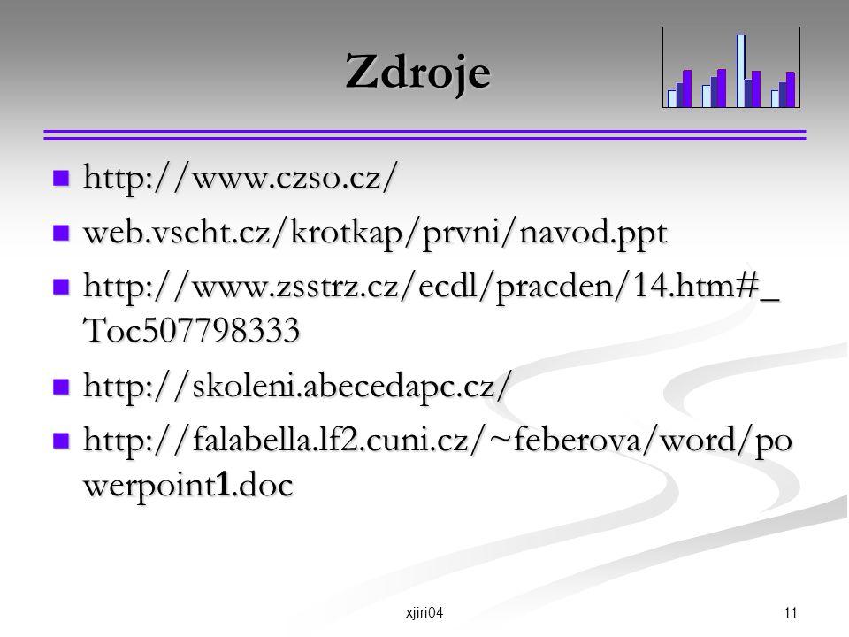Zdroje http://www.czso.cz/ web.vscht.cz/krotkap/prvni/navod.ppt