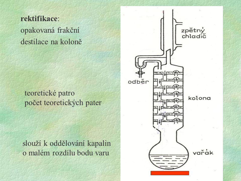 rektifikace: opakovaná frakční destilace na koloně