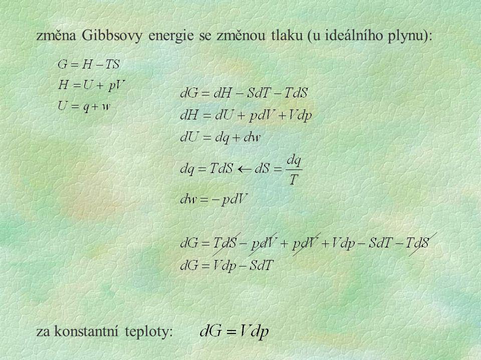 změna Gibbsovy energie se změnou tlaku (u ideálního plynu):