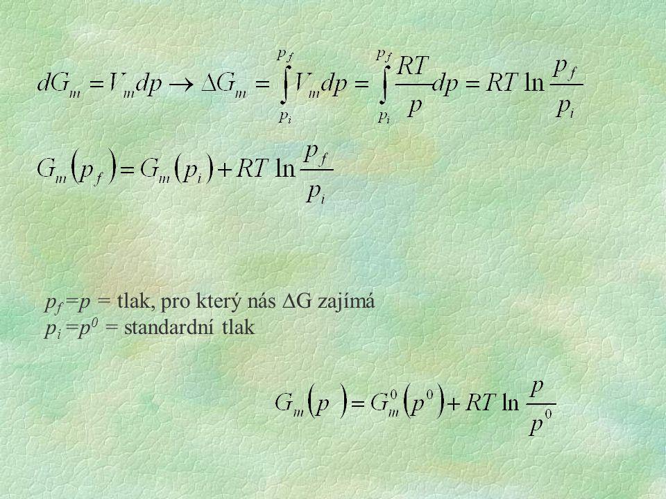 pf =p = tlak, pro který nás DG zajímá pi =p0 = standardní tlak