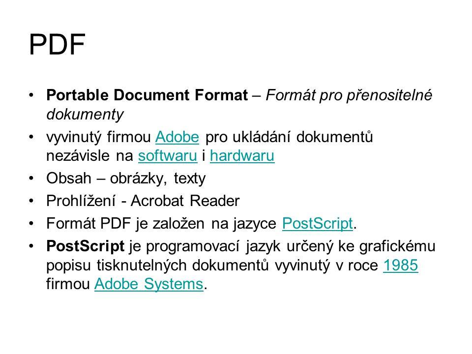 PDF Portable Document Format – Formát pro přenositelné dokumenty