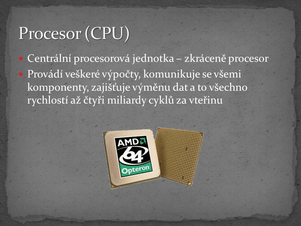 Procesor (CPU) Centrální procesorová jednotka – zkráceně procesor