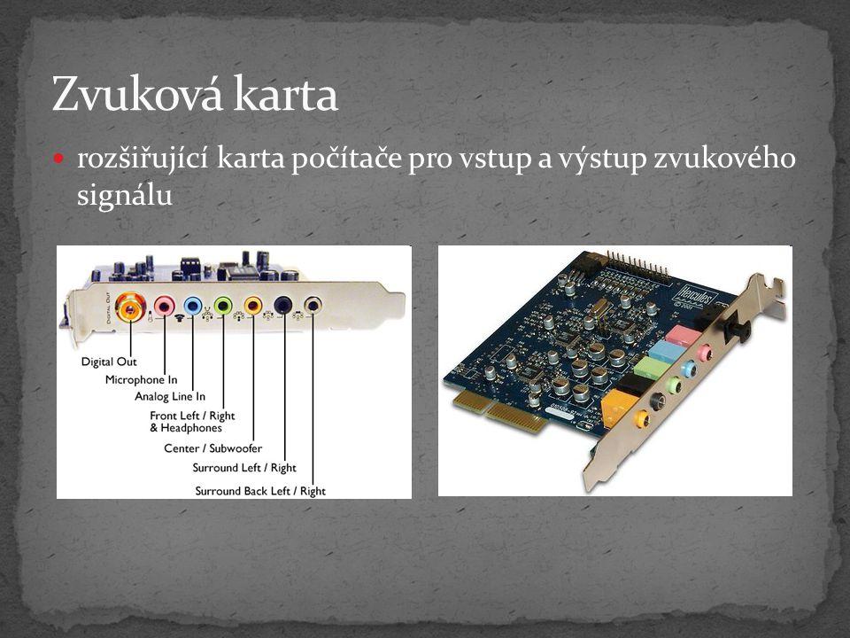 Zvuková karta rozšiřující karta počítače pro vstup a výstup zvukového signálu