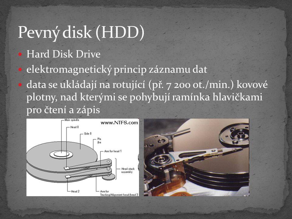 Pevný disk (HDD) Hard Disk Drive elektromagnetický princip záznamu dat