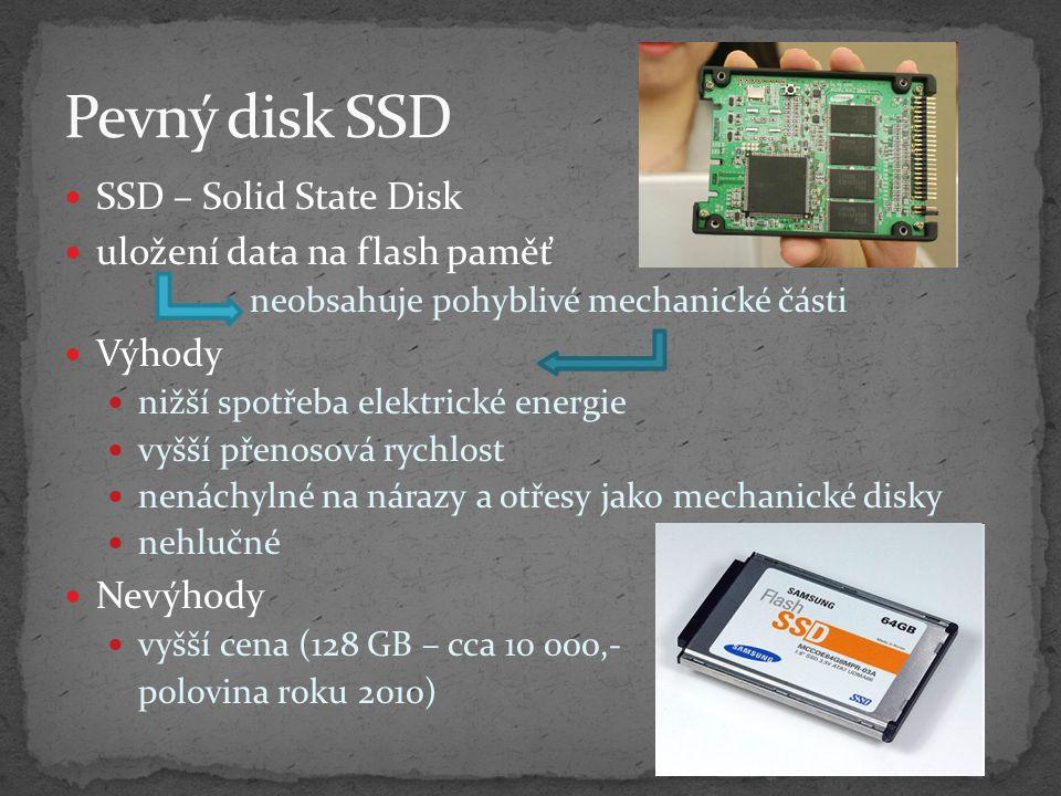 Pevný disk SSD SSD – Solid State Disk uložení data na flash paměť