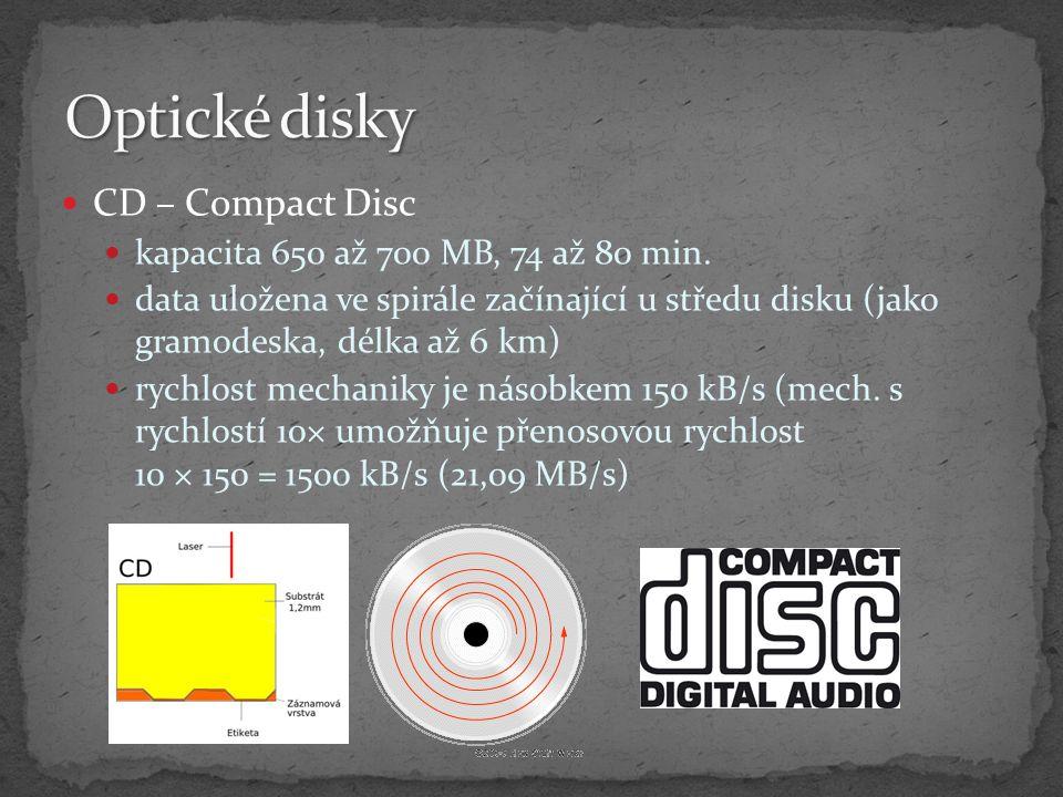 Optické disky CD – Compact Disc kapacita 650 až 700 MB, 74 až 80 min.