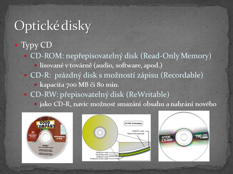 Optické disky Typy CD CD-ROM: nepřepisovatelný disk (Read-Only Memory)