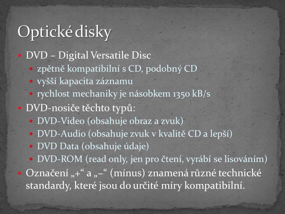 Optické disky DVD – Digital Versatile Disc DVD-nosiče těchto typů: