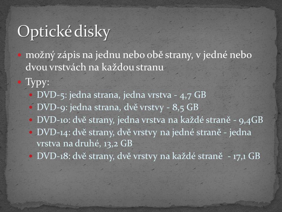 Optické disky možný zápis na jednu nebo obě strany, v jedné nebo dvou vrstvách na každou stranu. Typy: