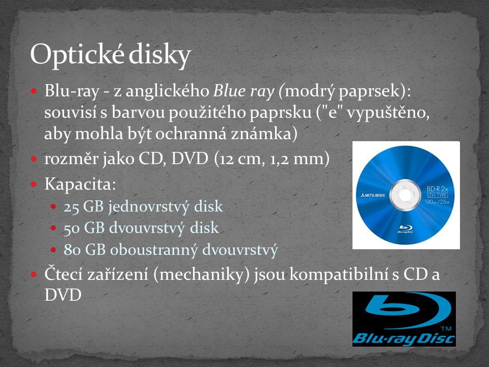 Optické disky Blu-ray - z anglického Blue ray (modrý paprsek): souvisí s barvou použitého paprsku ( e vypuštěno, aby mohla být ochranná známka)
