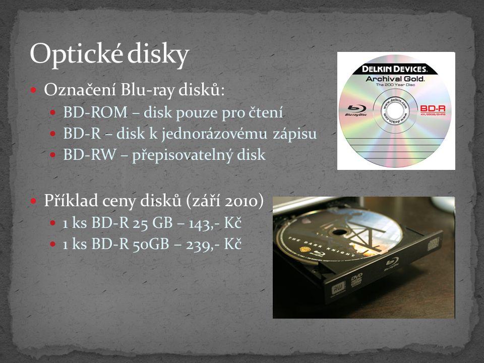 Optické disky Označení Blu-ray disků: Příklad ceny disků (září 2010)