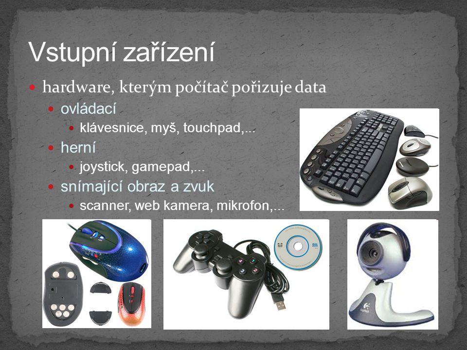 Vstupní zařízení hardware, kterým počítač pořizuje data ovládací herní