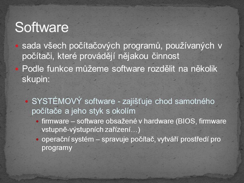 Software sada všech počítačových programů, používaných v počítači, které provádějí nějakou činnost.