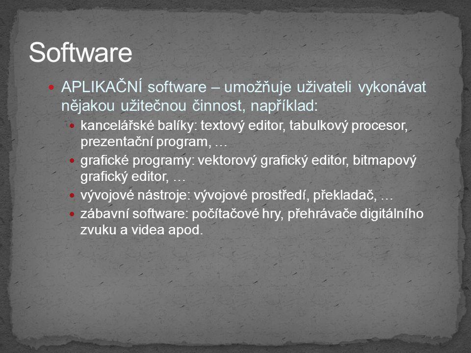 Software APLIKAČNÍ software – umožňuje uživateli vykonávat nějakou užitečnou činnost, například: