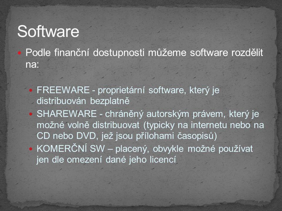 Software Podle finanční dostupnosti můžeme software rozdělit na: