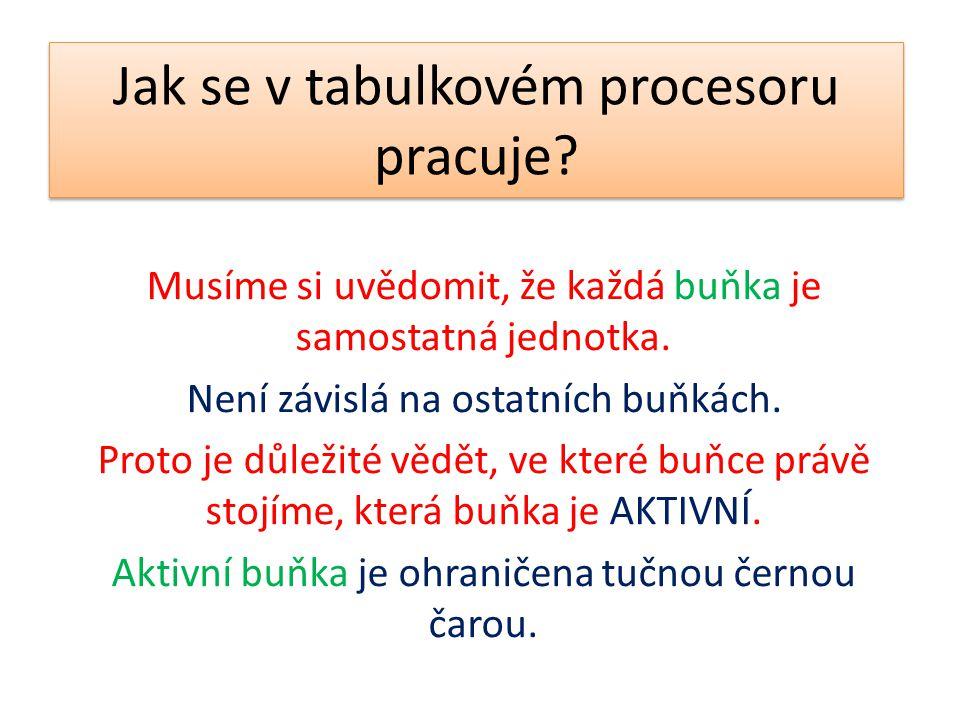 Jak se v tabulkovém procesoru pracuje