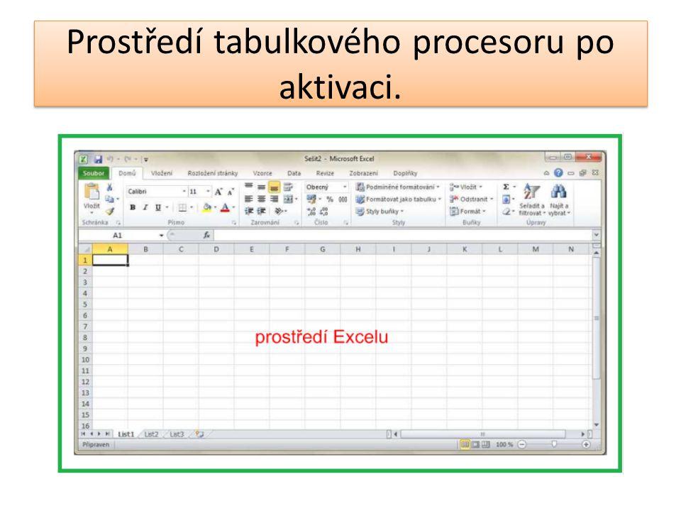 Prostředí tabulkového procesoru po aktivaci.