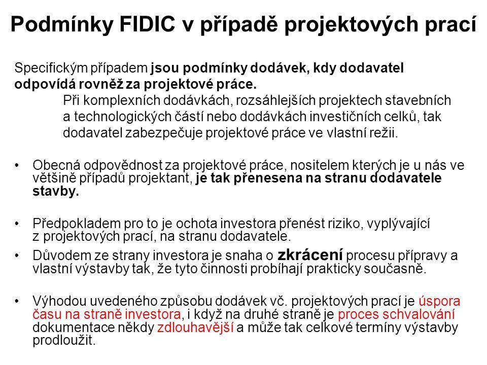 Podmínky FIDIC v případě projektových prací