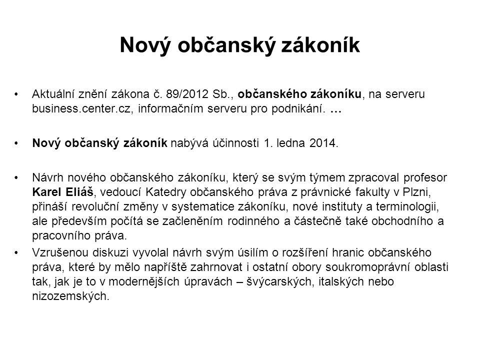 Nový občanský zákoník Aktuální znění zákona č. 89/2012 Sb., občanského zákoníku, na serveru business.center.cz, informačním serveru pro podnikání. …