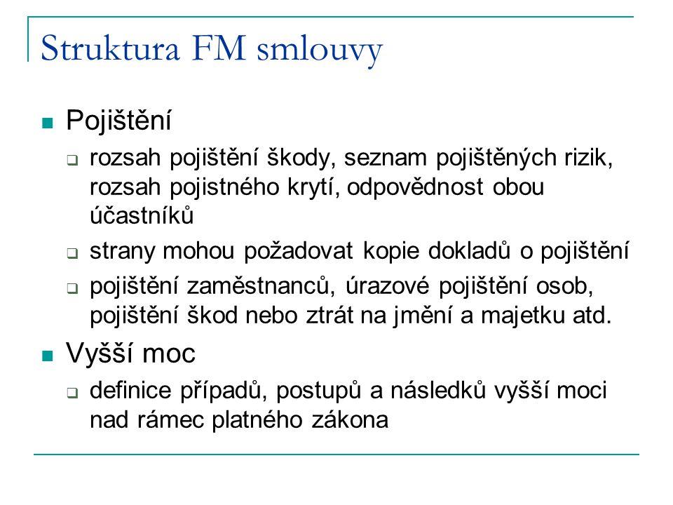 Struktura FM smlouvy Pojištění Vyšší moc