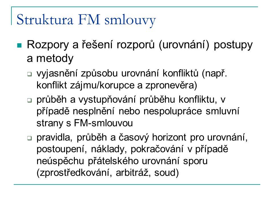 Struktura FM smlouvy Rozpory a řešení rozporů (urovnání) postupy a metody.