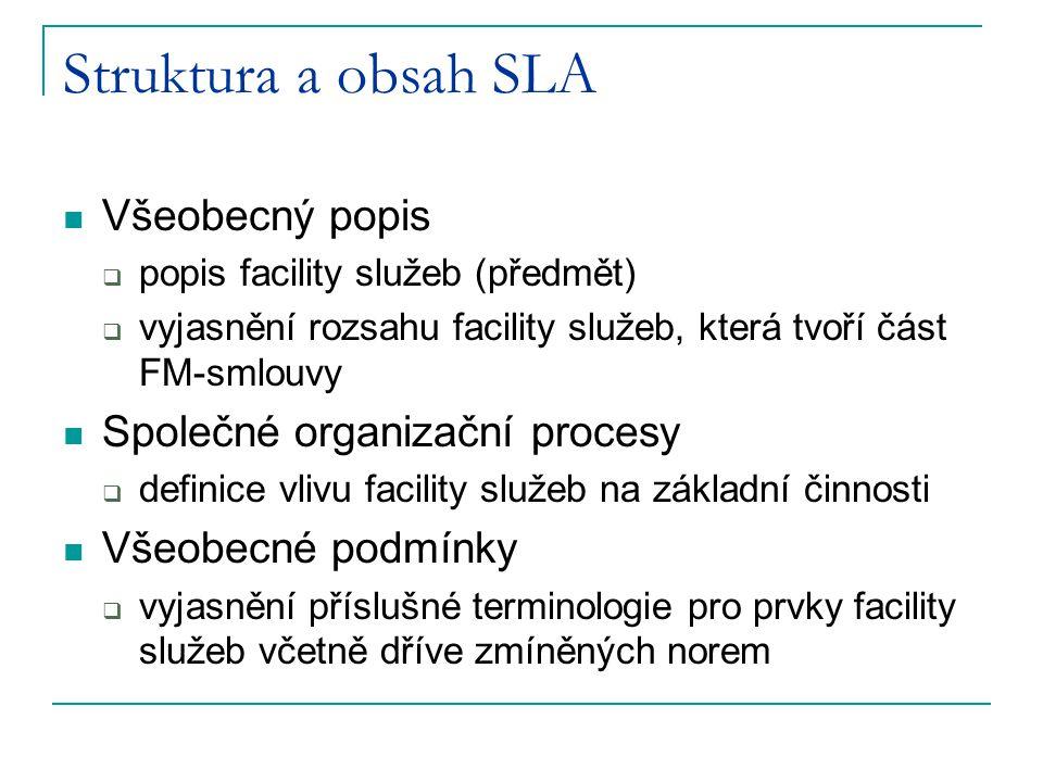 Struktura a obsah SLA Všeobecný popis Společné organizační procesy