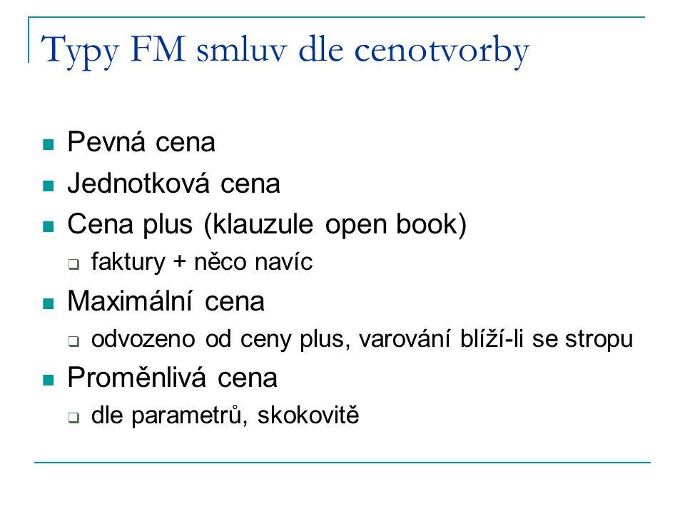 Typy FM smluv dle cenotvorby