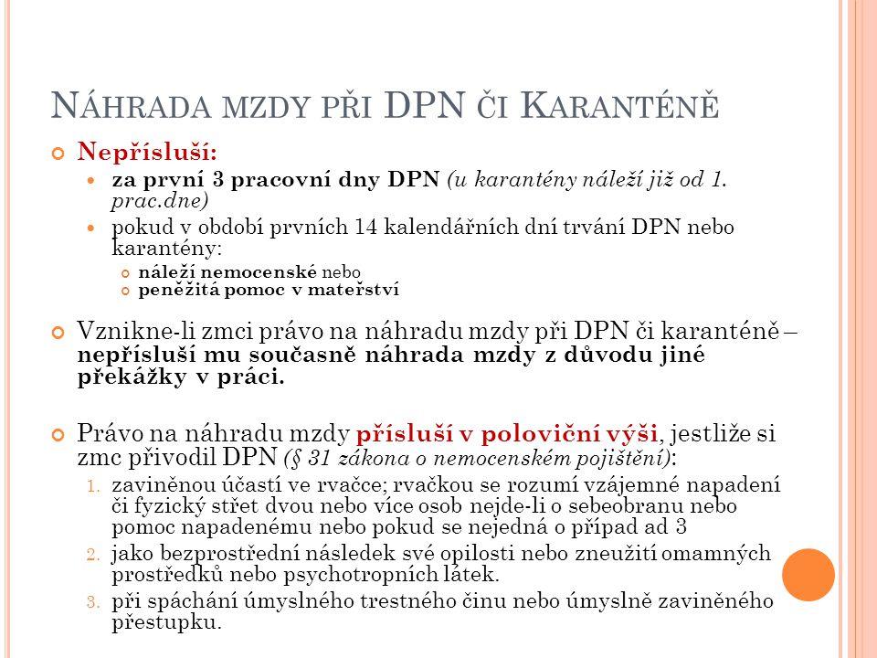 Náhrada mzdy při DPN či Karanténě