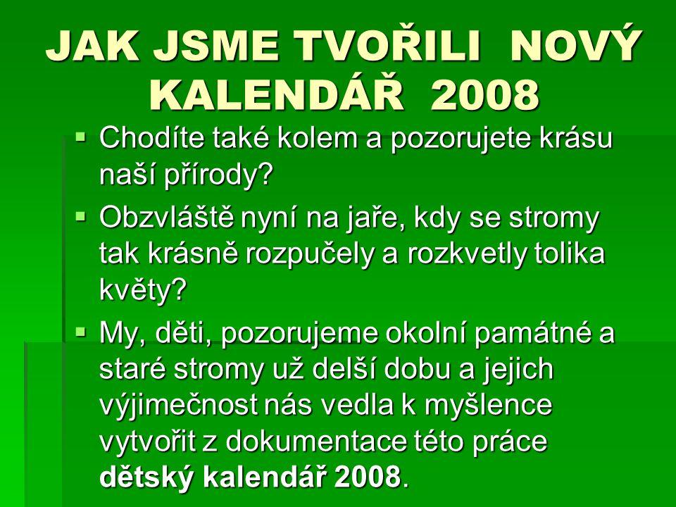 JAK JSME TVOŘILI NOVÝ KALENDÁŘ 2008