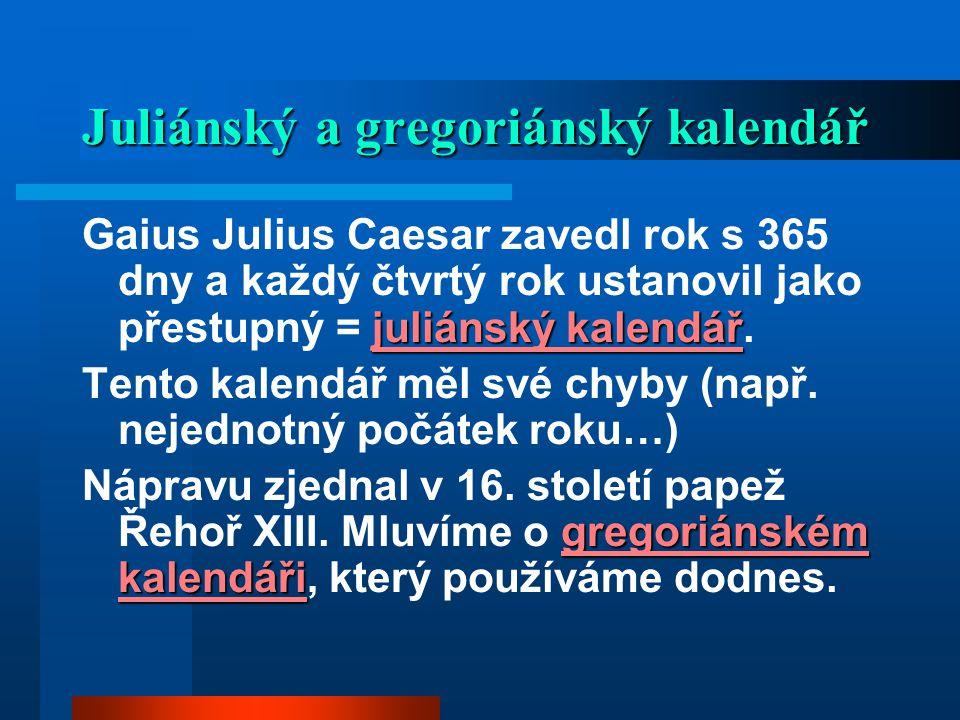 Juliánský a gregoriánský kalendář