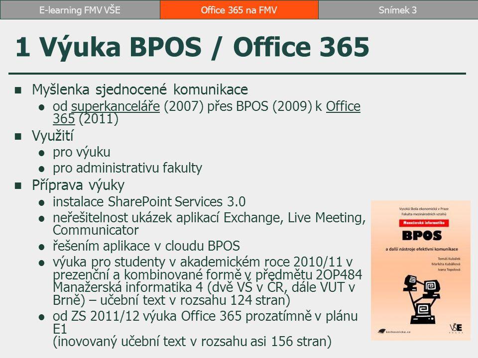 1 Výuka BPOS / Office 365 Myšlenka sjednocené komunikace Využití