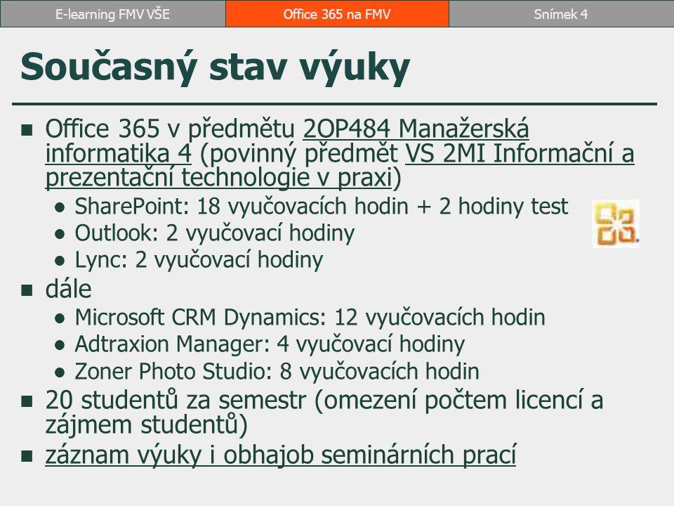 E-learning FMV VŠE Office 365 na FMV. Současný stav výuky.