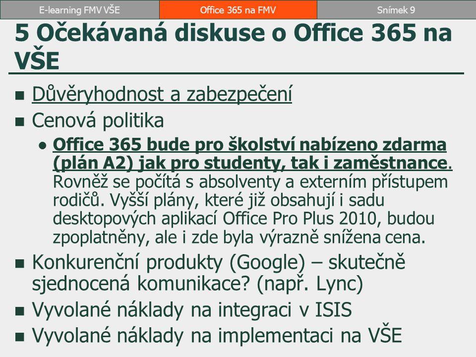 5 Očekávaná diskuse o Office 365 na VŠE