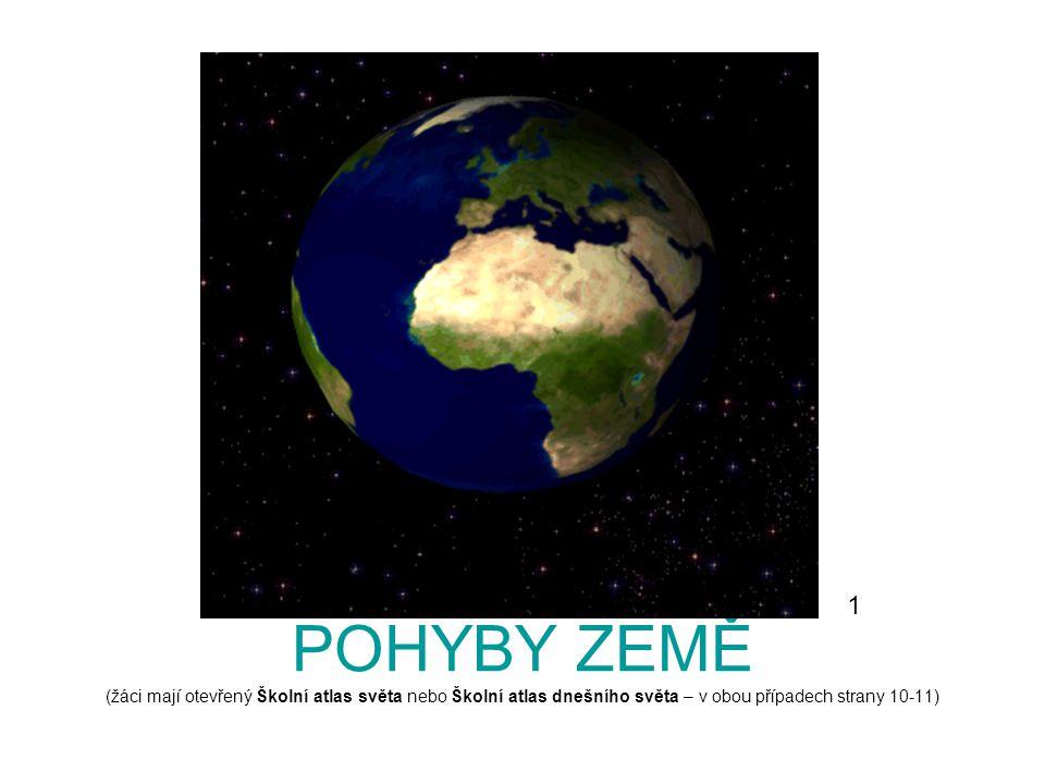 1 POHYBY ZEMĚ (žáci mají otevřený Školní atlas světa nebo Školní atlas dnešního světa – v obou případech strany 10-11)
