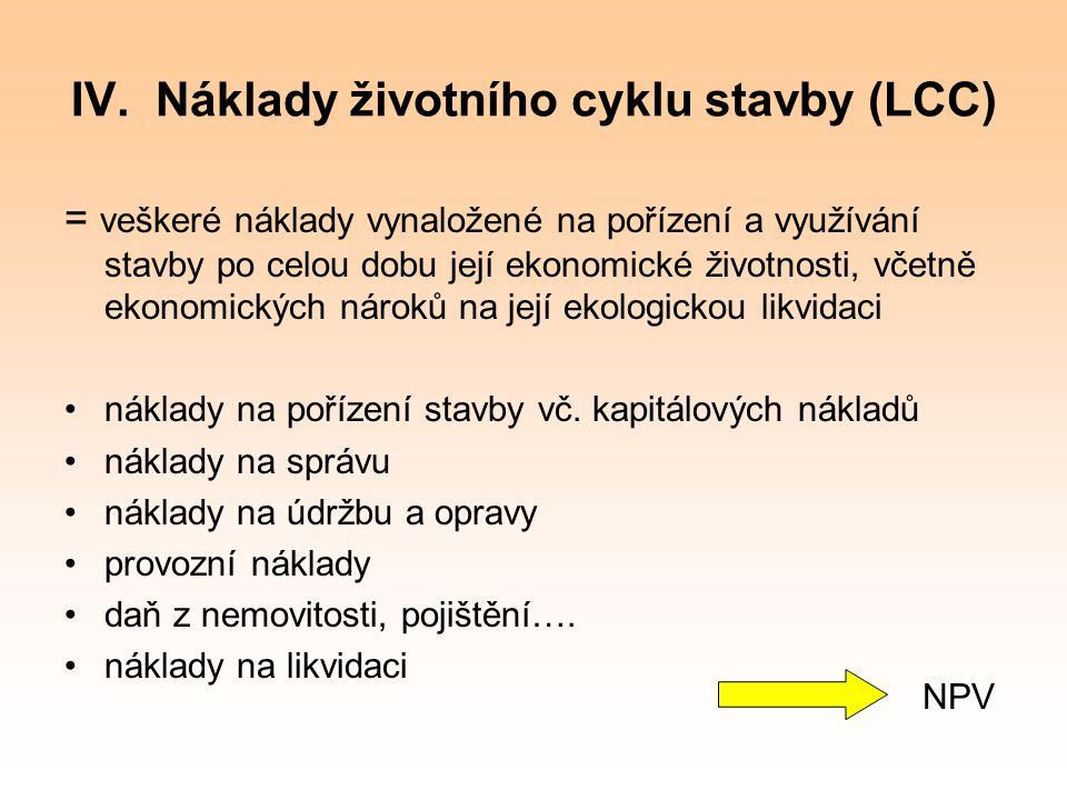 IV. Náklady životního cyklu stavby (LCC)