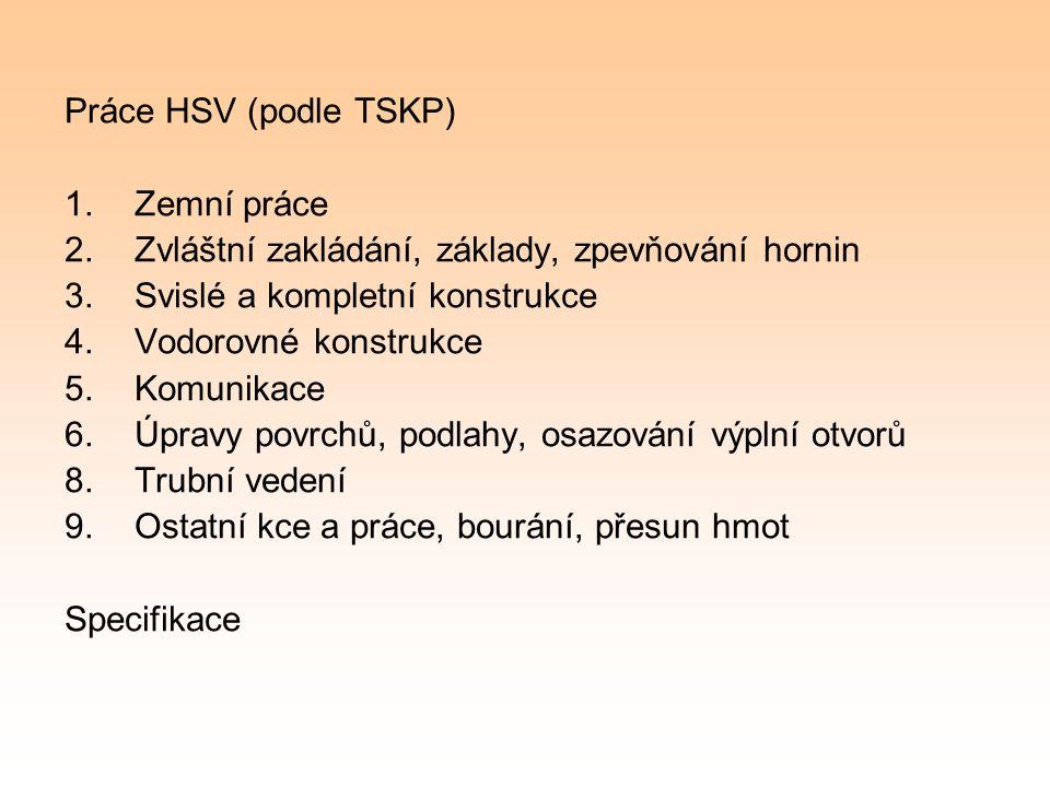 Práce HSV (podle TSKP) Zemní práce. Zvláštní zakládání, základy, zpevňování hornin. Svislé a kompletní konstrukce.