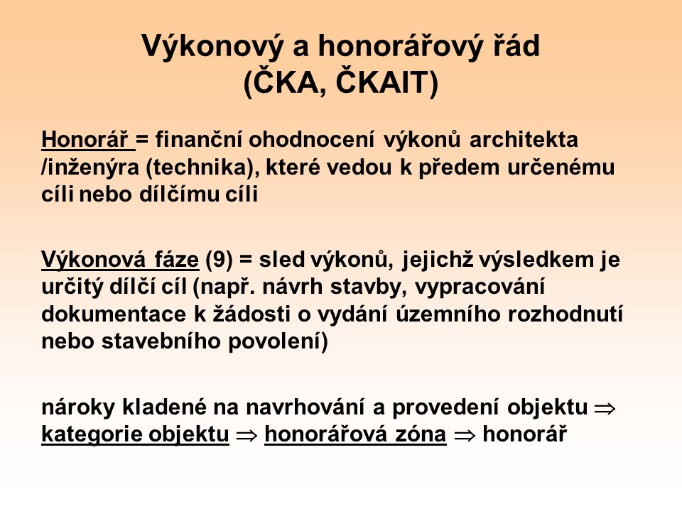 Výkonový a honorářový řád (ČKA, ČKAIT)