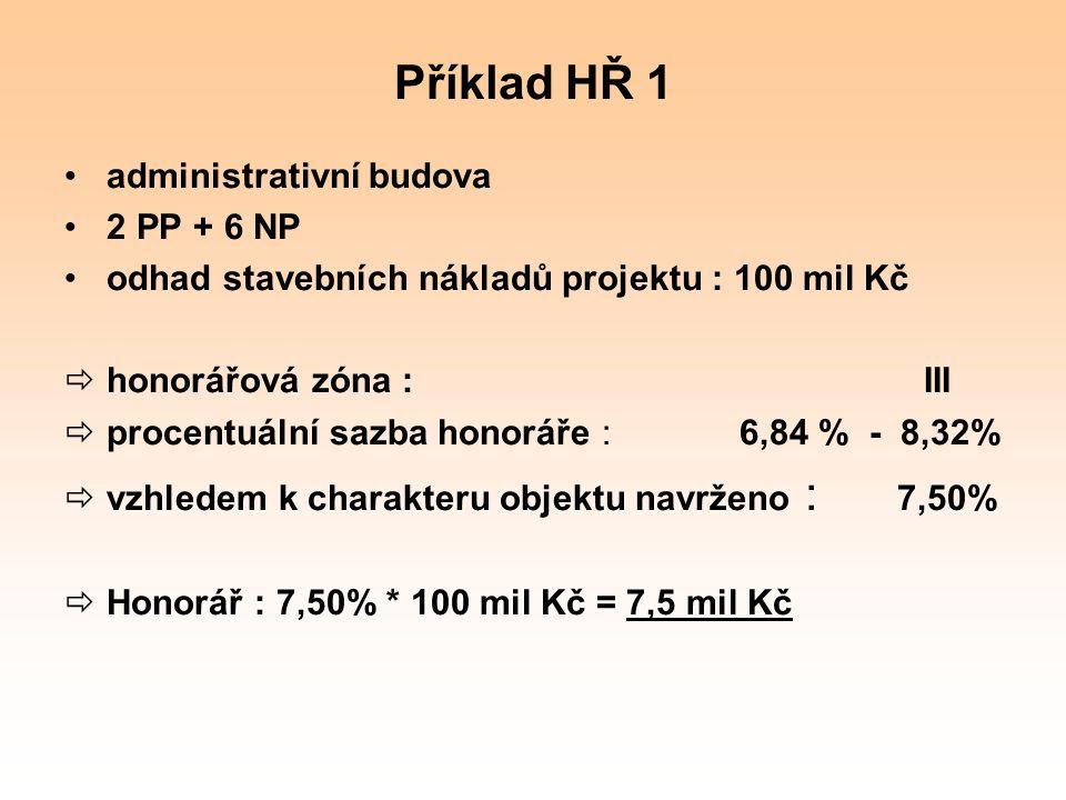 Příklad HŘ 1 administrativní budova 2 PP + 6 NP